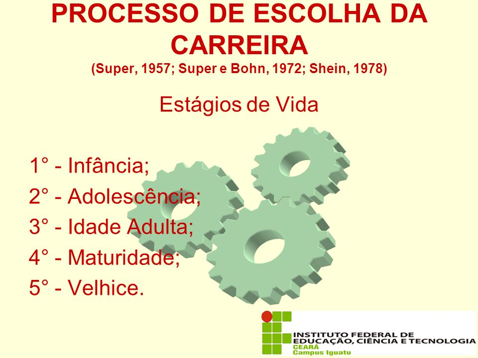 PROCESSO DE ESCOLHA DA CARREIRA (Super, 1957; Super e Bohn, 1972; Shein, 1978)