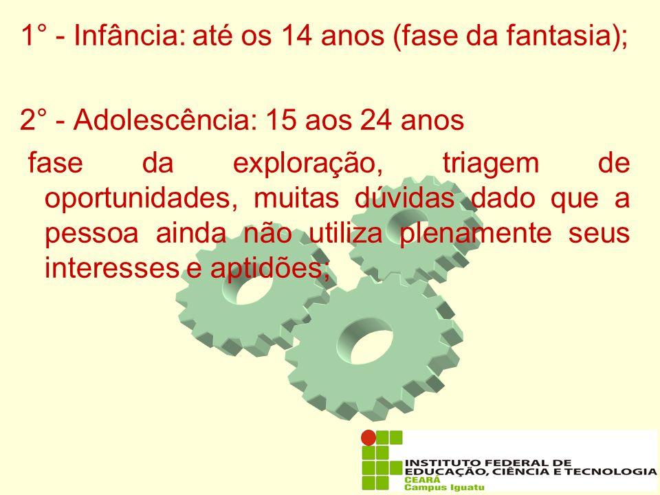 1° - Infância: até os 14 anos (fase da fantasia);