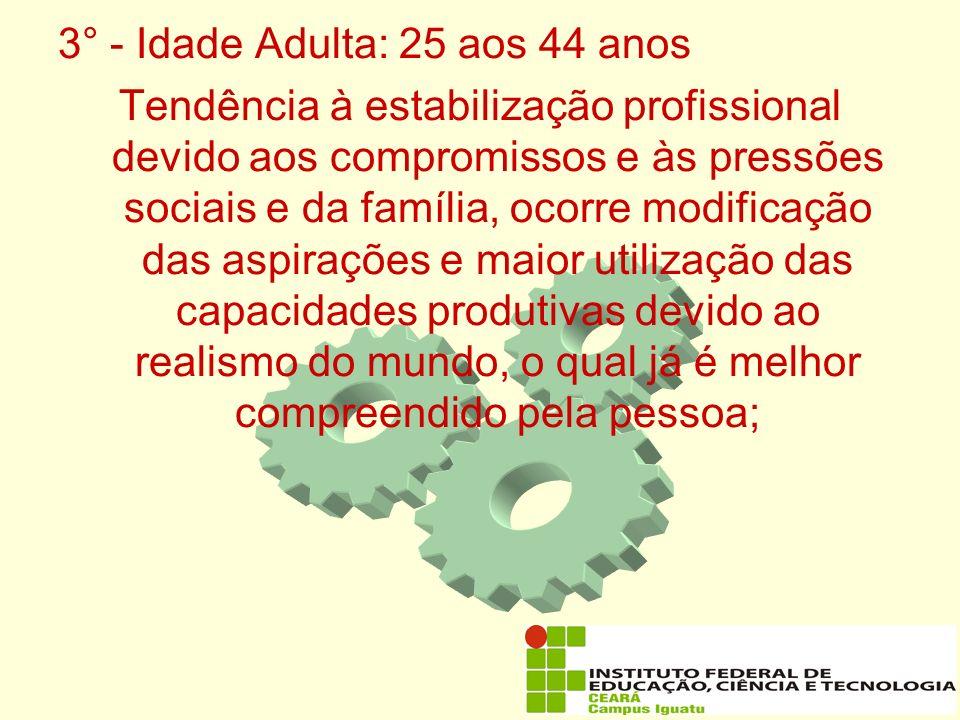 3° - Idade Adulta: 25 aos 44 anos
