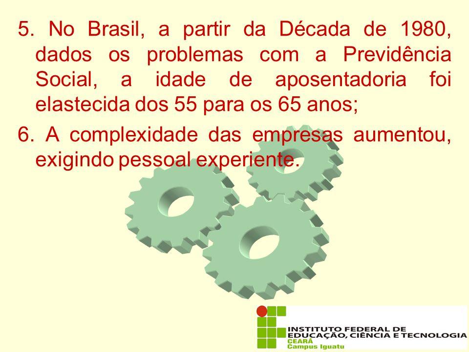 5. No Brasil, a partir da Década de 1980, dados os problemas com a Previdência Social, a idade de aposentadoria foi elastecida dos 55 para os 65 anos;