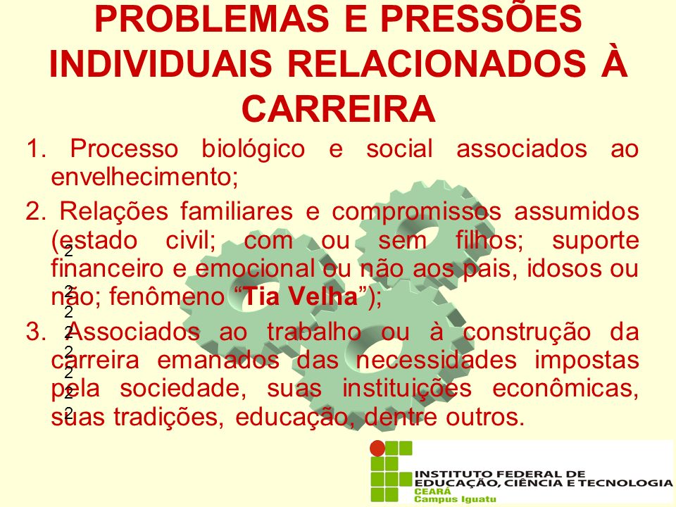 PROBLEMAS E PRESSÕES INDIVIDUAIS RELACIONADOS À CARREIRA