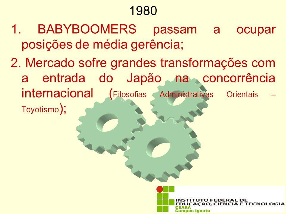19801. BABYBOOMERS passam a ocupar posições de média gerência;