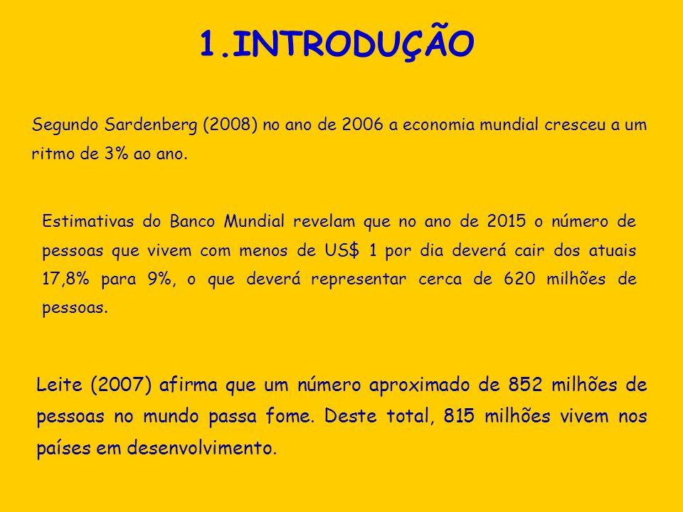 1.INTRODUÇÃOSegundo Sardenberg (2008) no ano de 2006 a economia mundial cresceu a um ritmo de 3% ao ano.