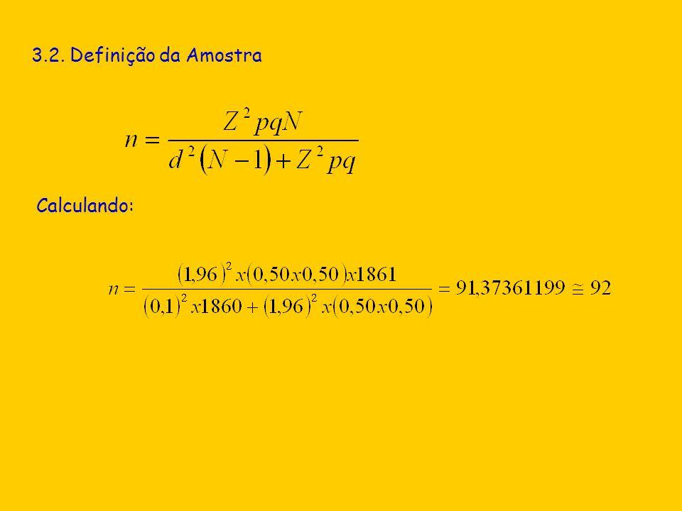 3.2. Definição da Amostra Calculando: