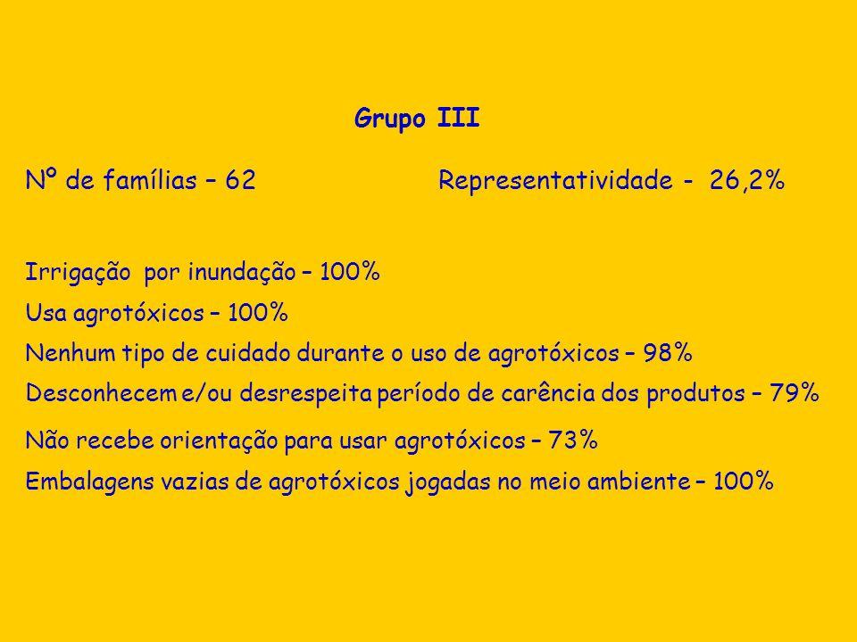 Nº de famílias – 62 Representatividade - 26,2%