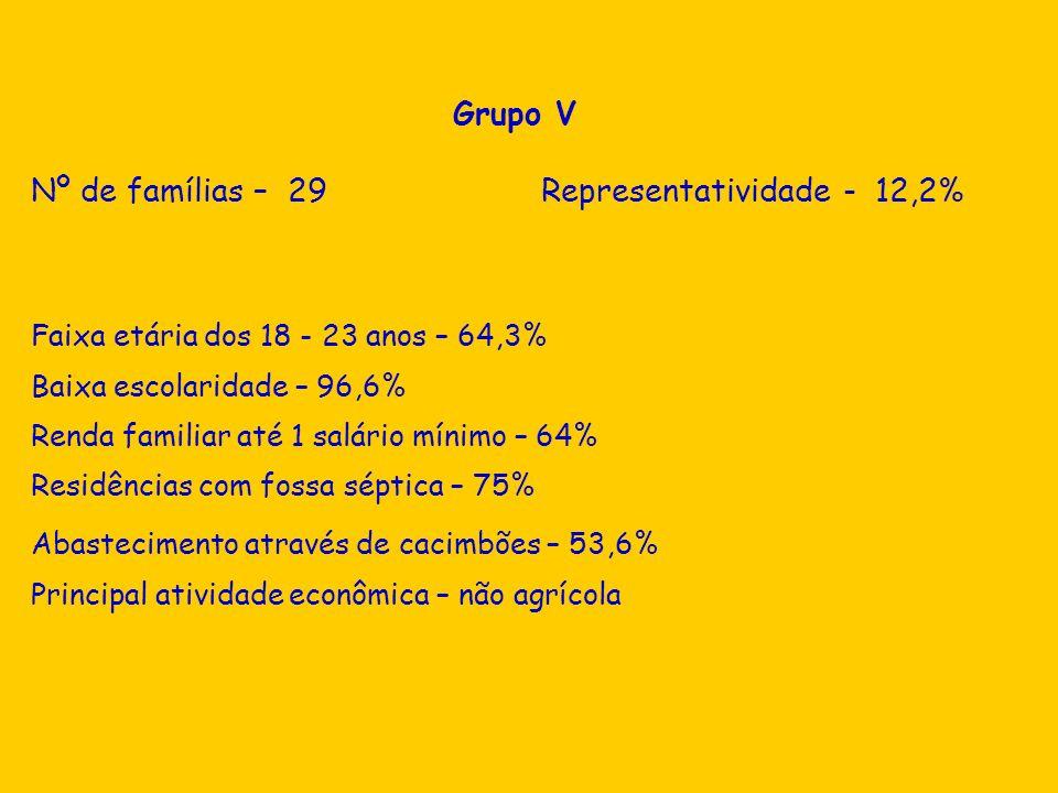 Nº de famílias – 29 Representatividade - 12,2%
