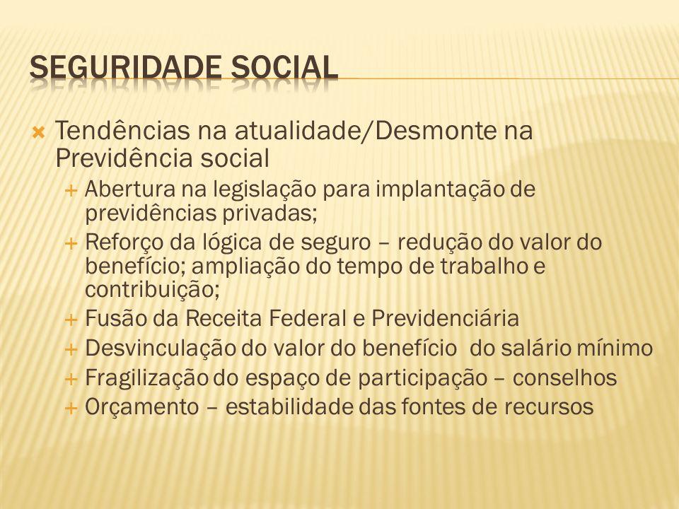 SEGURIDADE SOCIAL Tendências na atualidade/Desmonte na Previdência social. Abertura na legislação para implantação de previdências privadas;
