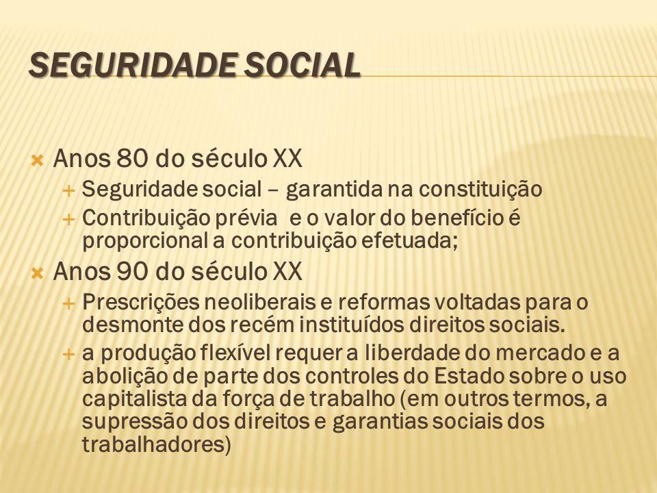 SEGURIDADE SOCIAL Anos 80 do século XX Anos 90 do século XX