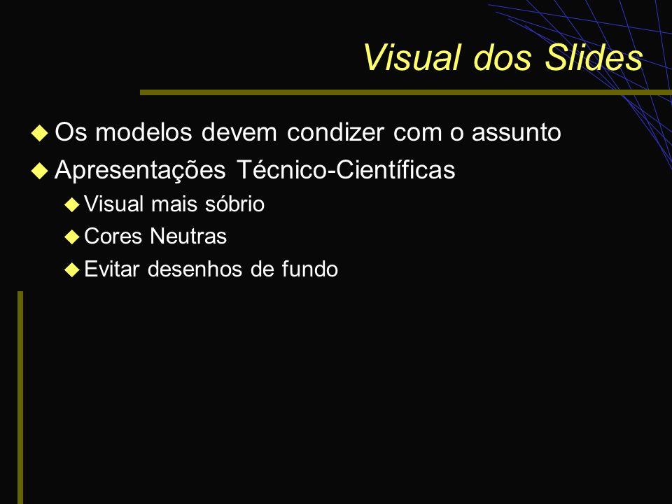 Visual dos Slides Os modelos devem condizer com o assunto