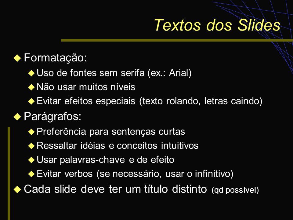 Textos dos Slides Formatação: Parágrafos: