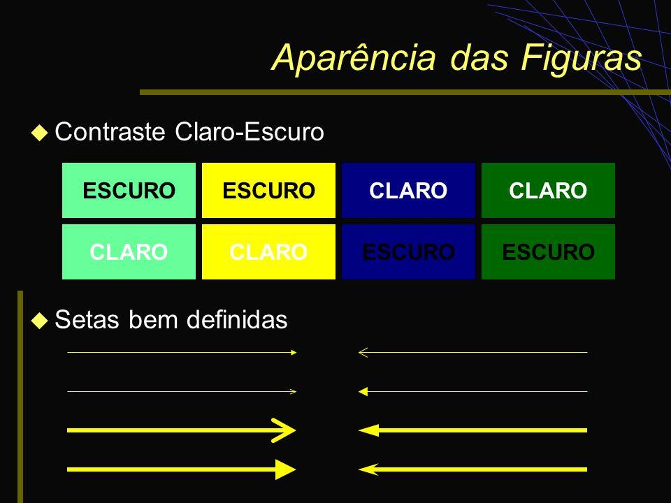 Aparência das Figuras Contraste Claro-Escuro Setas bem definidas