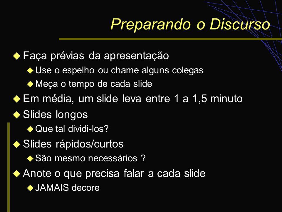 Preparando o Discurso Faça prévias da apresentação