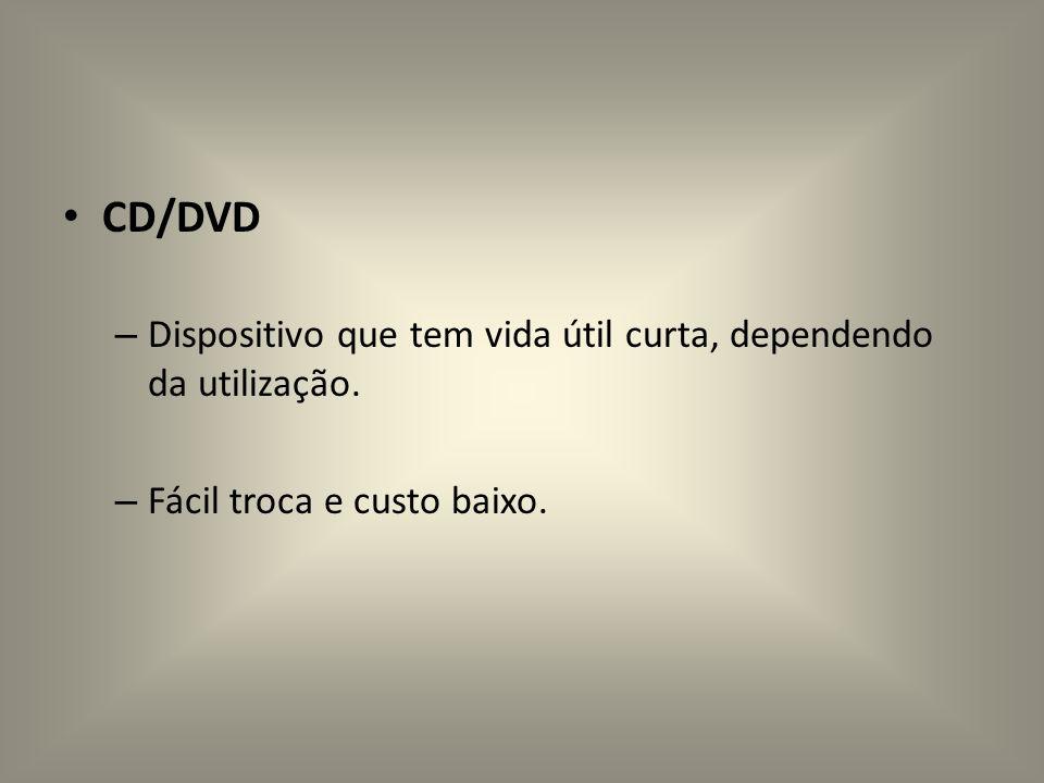CD/DVD Dispositivo que tem vida útil curta, dependendo da utilização.