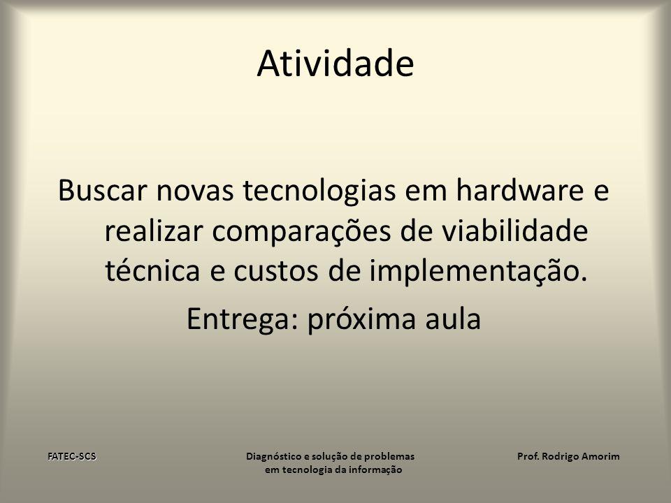 Atividade Buscar novas tecnologias em hardware e realizar comparações de viabilidade técnica e custos de implementação. Entrega: próxima aula