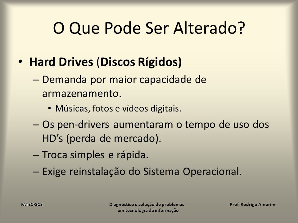 O Que Pode Ser Alterado Hard Drives (Discos Rígidos)