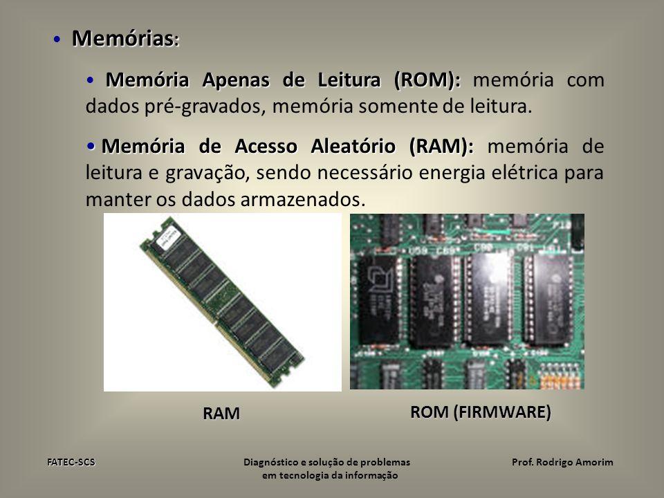 Memórias: Memória Apenas de Leitura (ROM): memória com dados pré-gravados, memória somente de leitura.