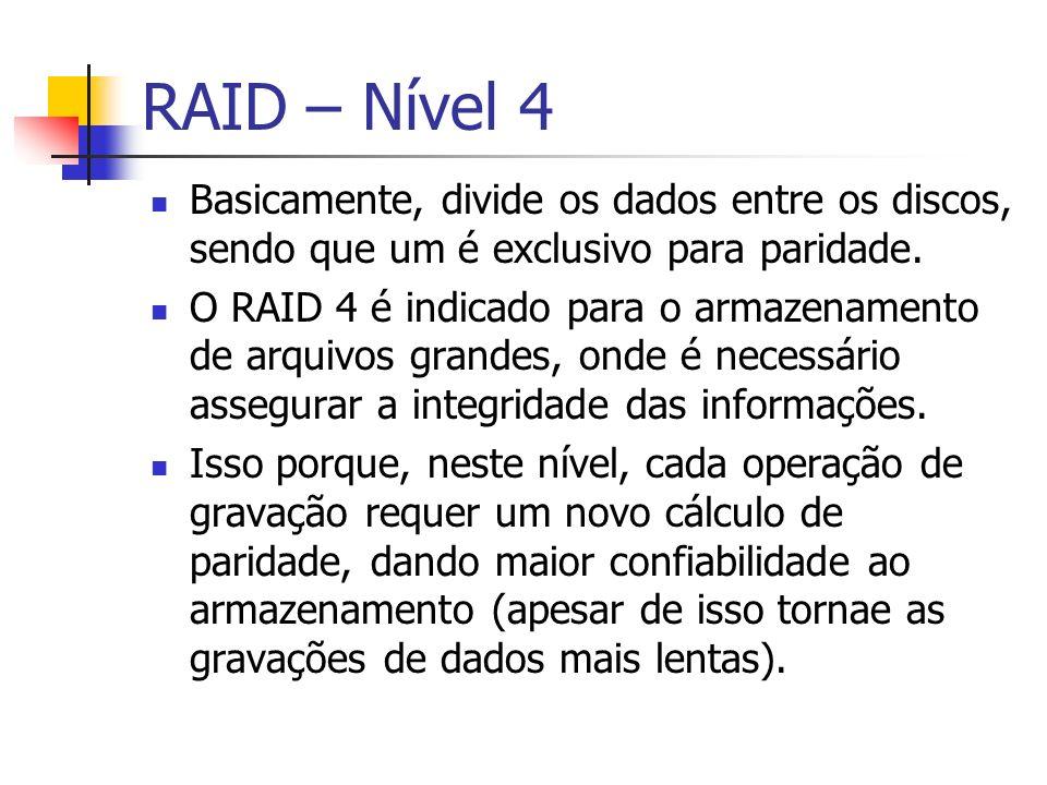 RAID – Nível 4Basicamente, divide os dados entre os discos, sendo que um é exclusivo para paridade.