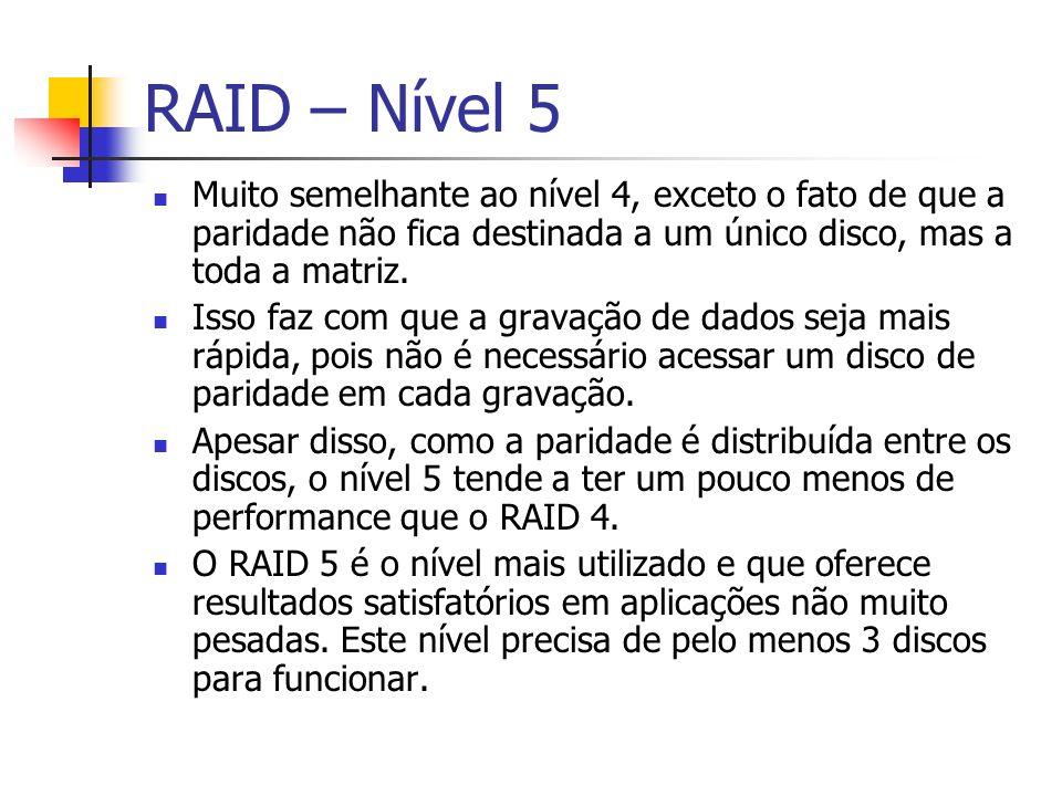 RAID – Nível 5Muito semelhante ao nível 4, exceto o fato de que a paridade não fica destinada a um único disco, mas a toda a matriz.