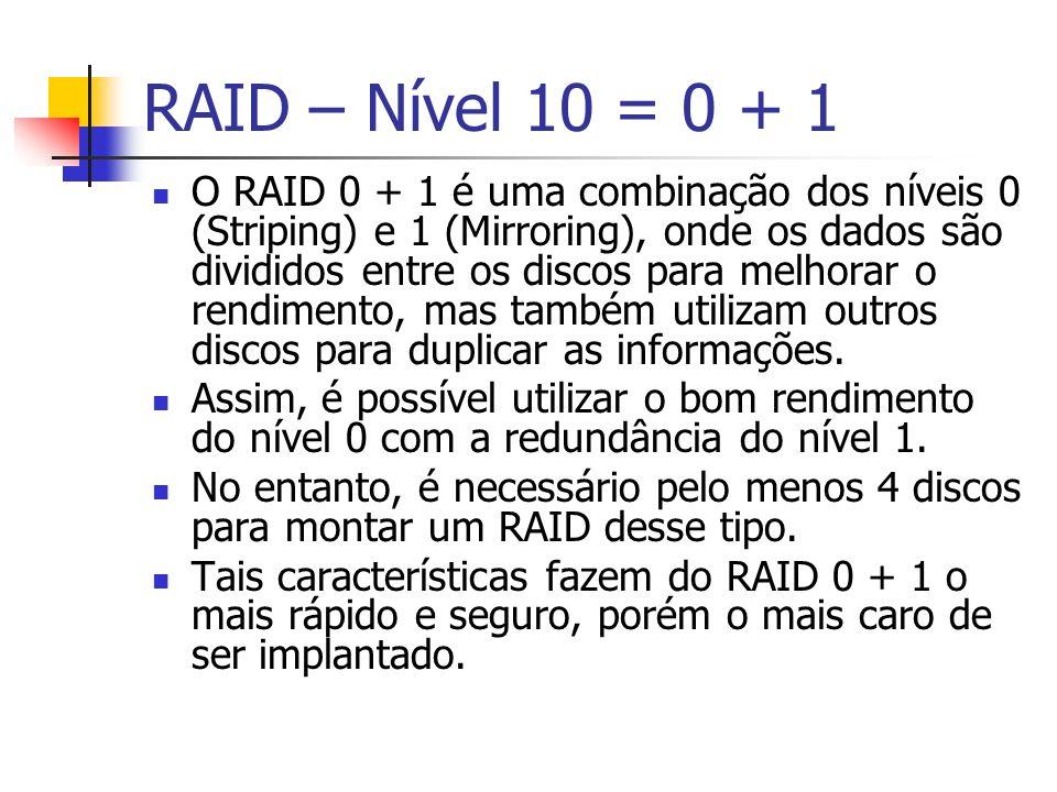 RAID – Nível 10 = 0 + 1