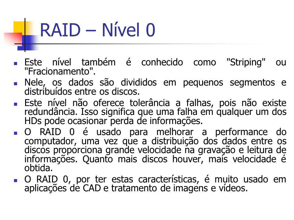 RAID – Nível 0 Este nível também é conhecido como Striping ou Fracionamento .
