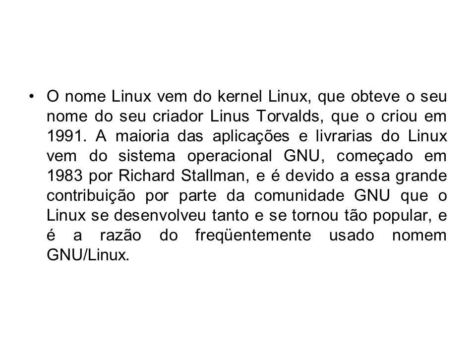 O nome Linux vem do kernel Linux, que obteve o seu nome do seu criador Linus Torvalds, que o criou em 1991.