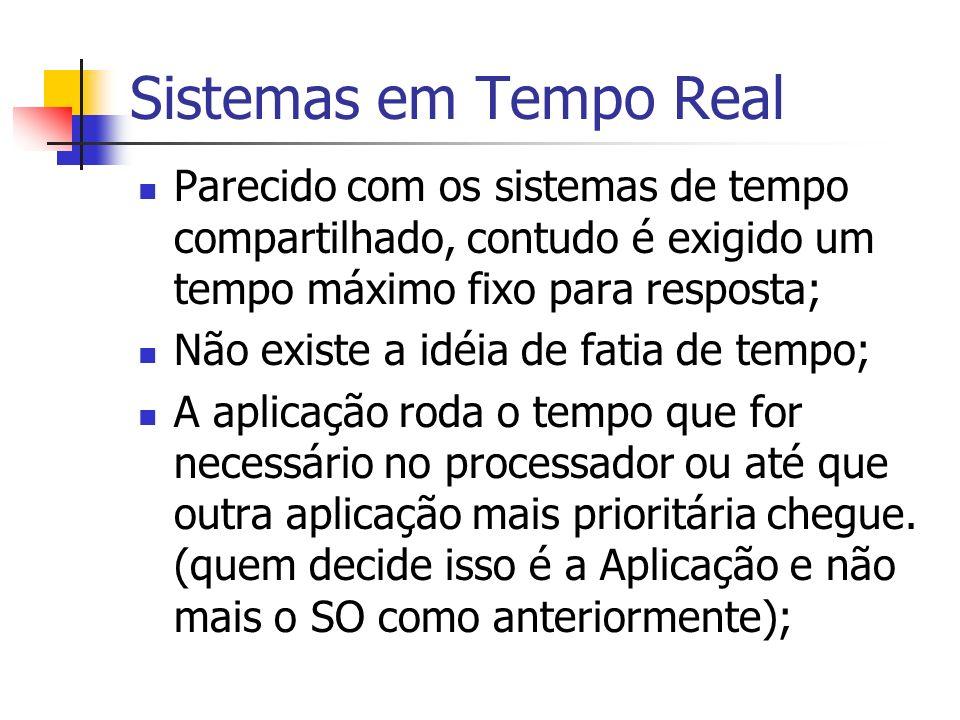 Sistemas em Tempo Real Parecido com os sistemas de tempo compartilhado, contudo é exigido um tempo máximo fixo para resposta;