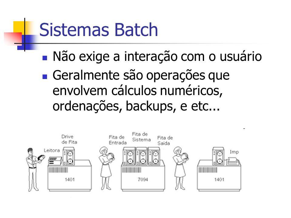 Sistemas Batch Não exige a interação com o usuário