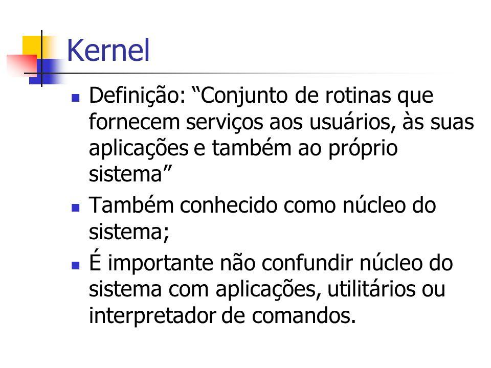 Kernel Definição: Conjunto de rotinas que fornecem serviços aos usuários, às suas aplicações e também ao próprio sistema