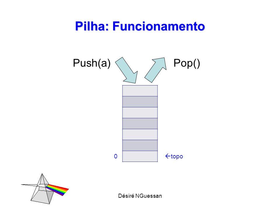 Pilha: Funcionamento Push(a) Pop() topo Désiré NGuessan