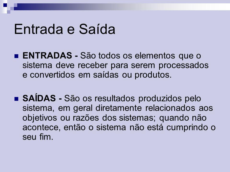 Entrada e Saída ENTRADAS - São todos os elementos que o sistema deve receber para serem processados e convertidos em saídas ou produtos.