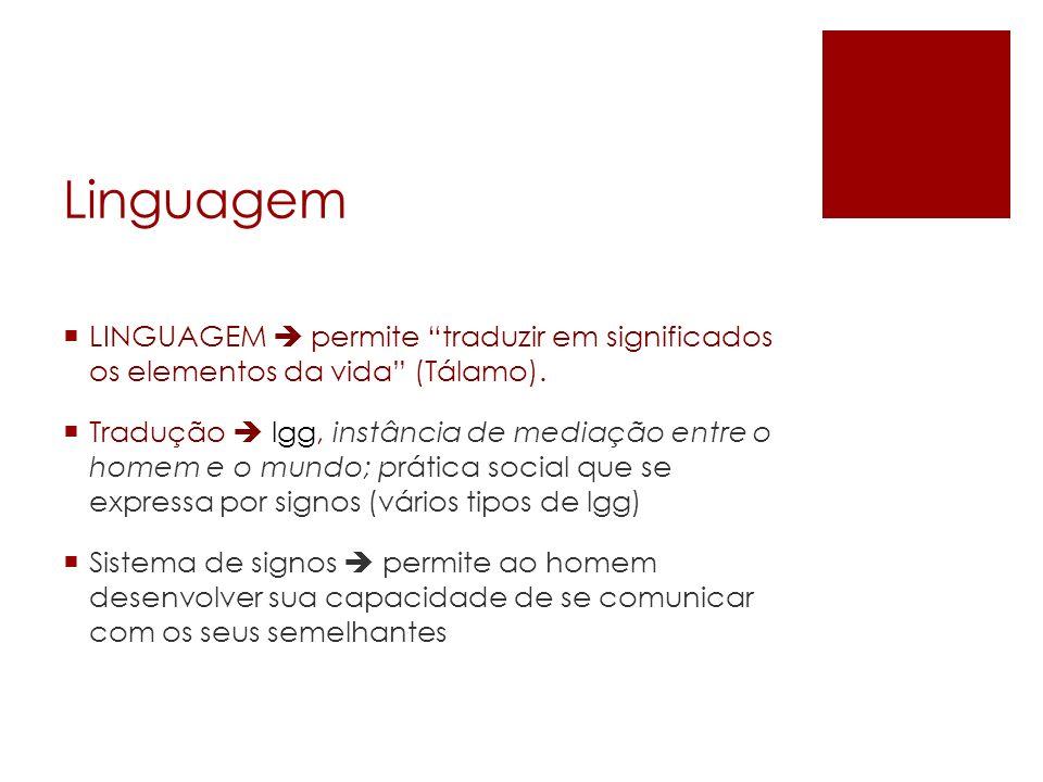 Linguagem LINGUAGEM  permite traduzir em significados os elementos da vida (Tálamo).