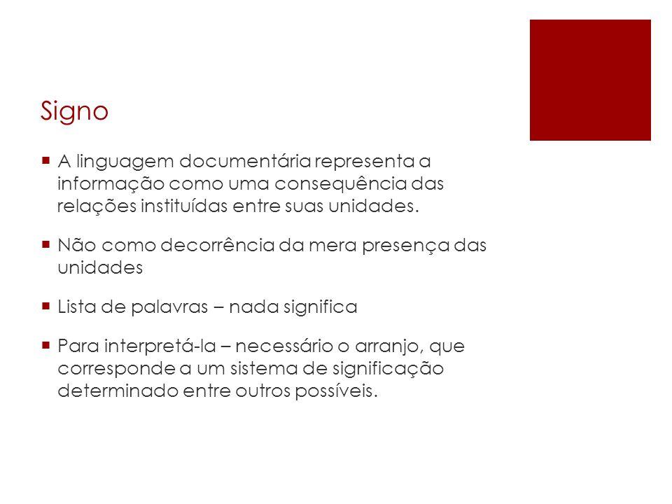 SignoA linguagem documentária representa a informação como uma consequência das relações instituídas entre suas unidades.