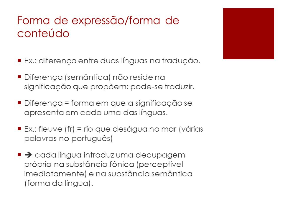 Forma de expressão/forma de conteúdo