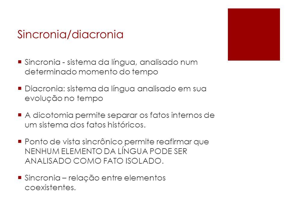 Sincronia/diacronia Sincronia - sistema da língua, analisado num determinado momento do tempo.