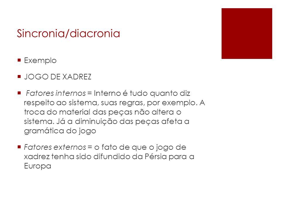 Sincronia/diacronia Exemplo JOGO DE XADREZ