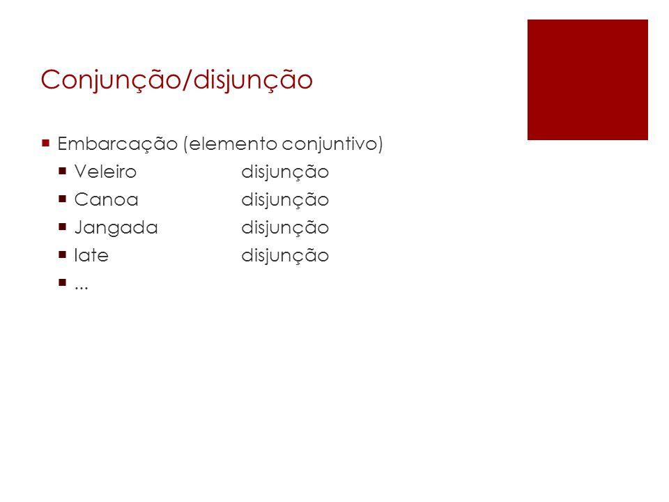 Conjunção/disjunção Embarcação (elemento conjuntivo) Veleiro disjunção