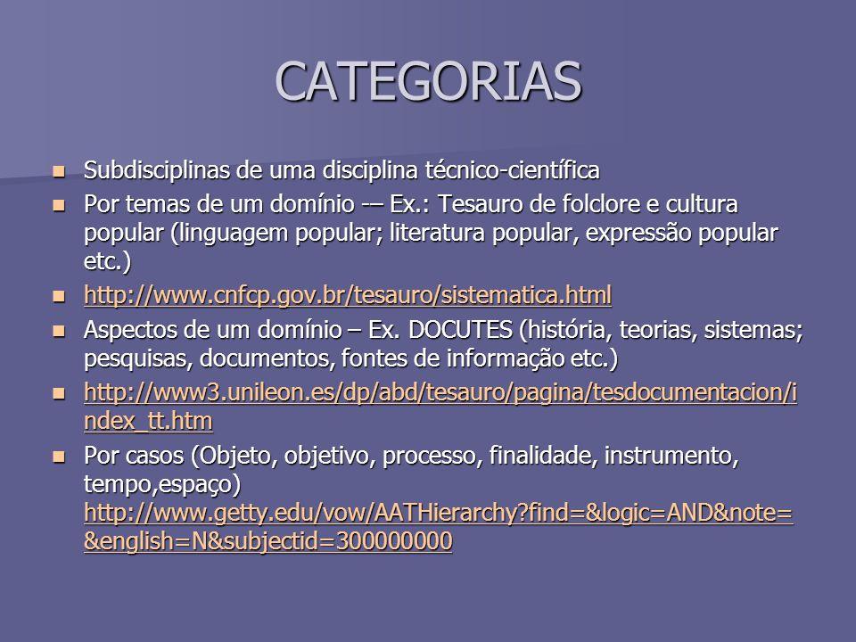 CATEGORIAS Subdisciplinas de uma disciplina técnico-científica