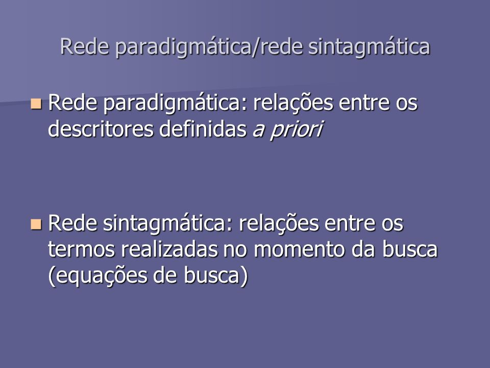 Rede paradigmática/rede sintagmática