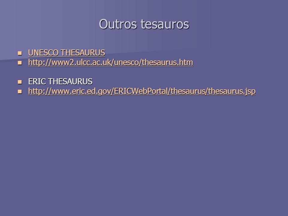 Outros tesauros UNESCO THESAURUS