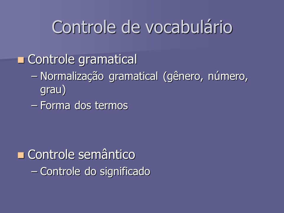 Controle de vocabulário