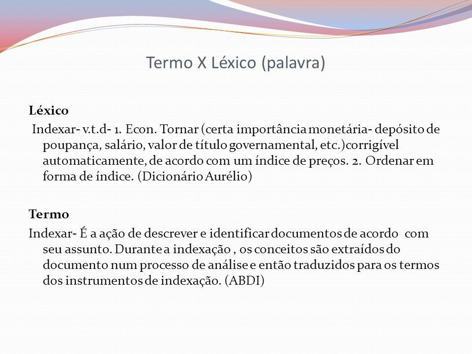 Termo X Léxico (palavra)