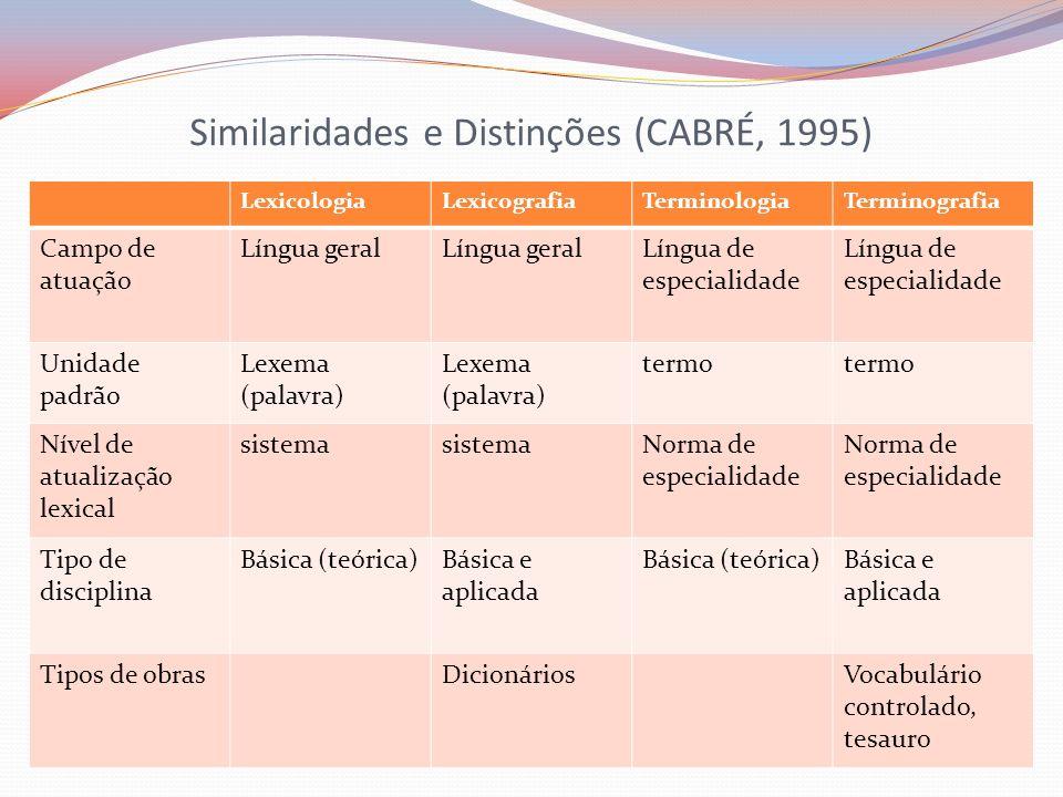 Similaridades e Distinções (CABRÉ, 1995)