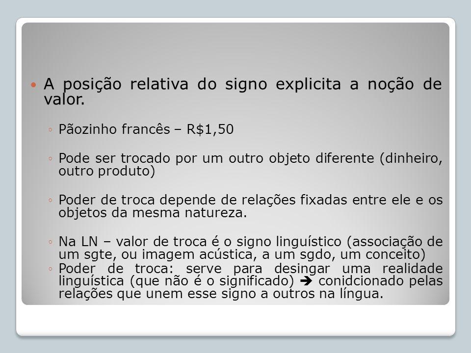 A posição relativa do signo explicita a noção de valor.