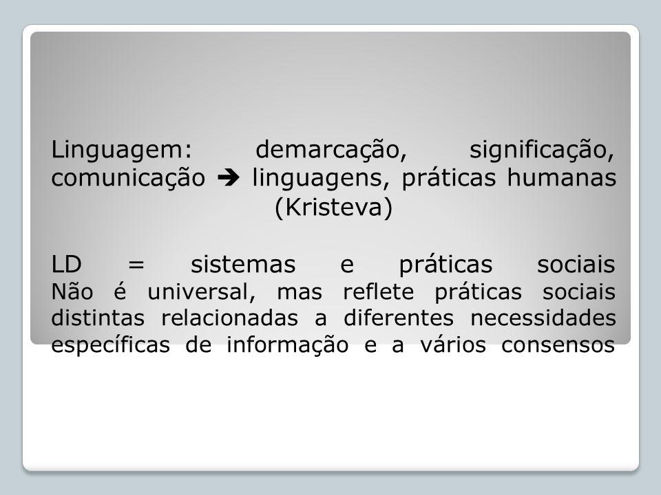 Linguagem: demarcação, significação, comunicação  linguagens, práticas humanas (Kristeva) LD = sistemas e práticas sociais Não é universal, mas reflete práticas sociais distintas relacionadas a diferentes necessidades específicas de informação e a vários consensos