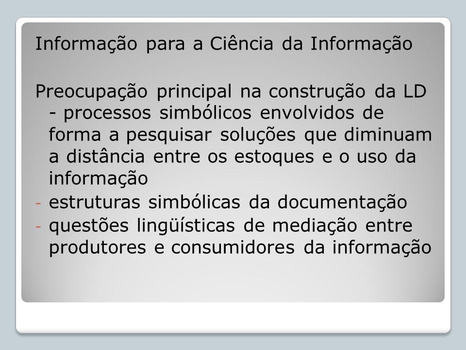 Informação para a Ciência da Informação