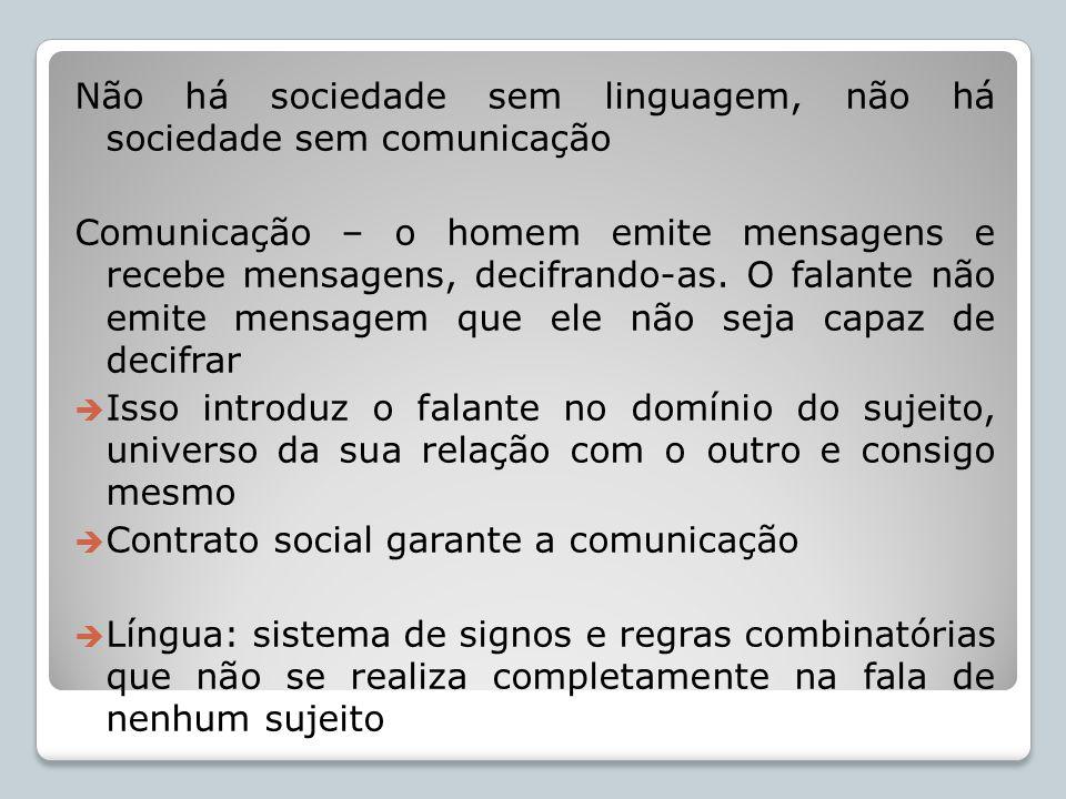 Não há sociedade sem linguagem, não há sociedade sem comunicação