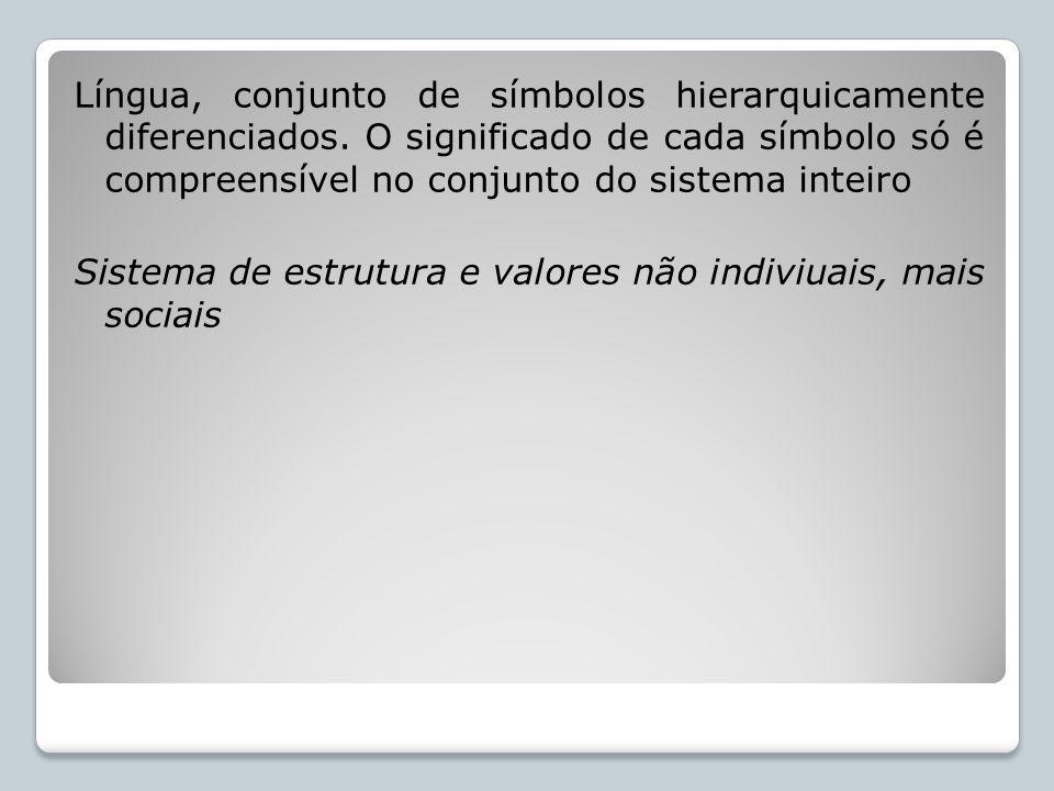 Língua, conjunto de símbolos hierarquicamente diferenciados