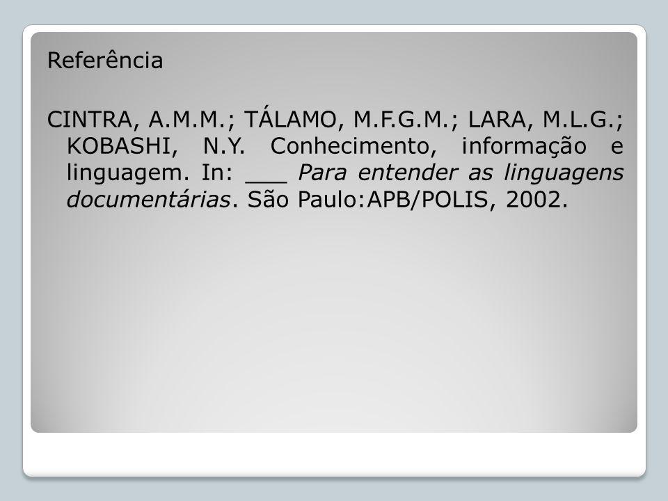 Referência CINTRA, A. M. M. ; TÁLAMO, M. F. G. M. ; LARA, M. L. G