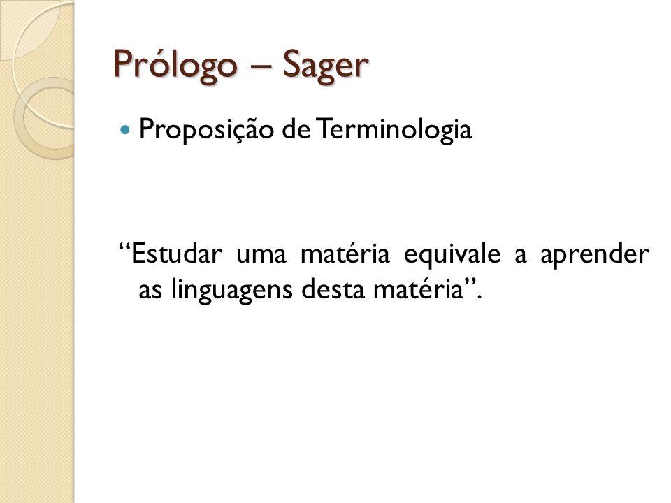 Prólogo – Sager Proposição de Terminologia
