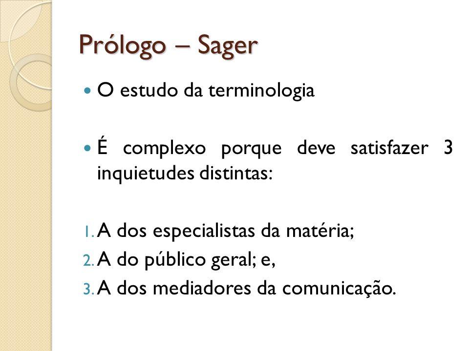 Prólogo – Sager O estudo da terminologia